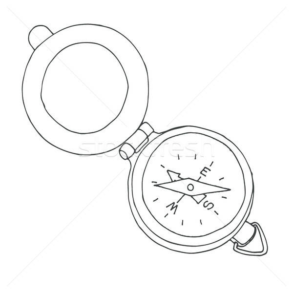 Sketch of a compass. Vector illustration. Isolated on white background. Stock photo © Arkadivna