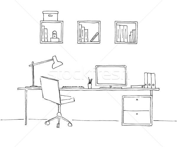 sketch the room office chair desk various objects on. Black Bedroom Furniture Sets. Home Design Ideas