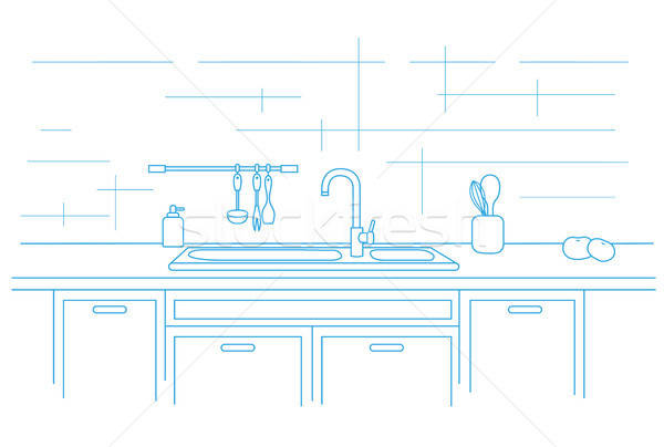 Kitchen worktop with sink. Linear vector illustration Stock photo © Arkadivna