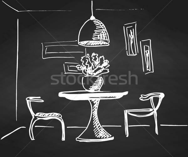 Kroki oda kara tahta dizayn tablo iki Stok fotoğraf © Arkadivna