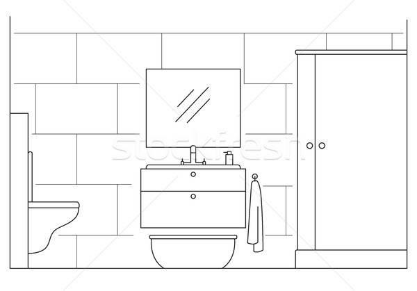 Bagno doccia specchio WC lineare stile Foto d'archivio © Arkadivna