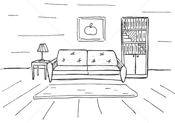 Linear sketch of an interior. Room plan. Vector illustration. Stock photo © Arkadivna