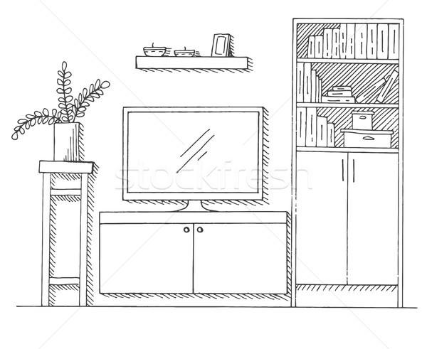 рисованной эскиз линейный интерьер книжный шкаф Сток-фото © Arkadivna