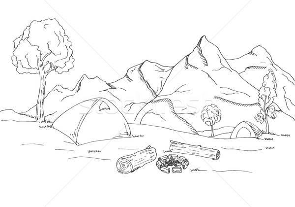 Mountain landscape. Tents and a bonfire. Stock photo © Arkadivna