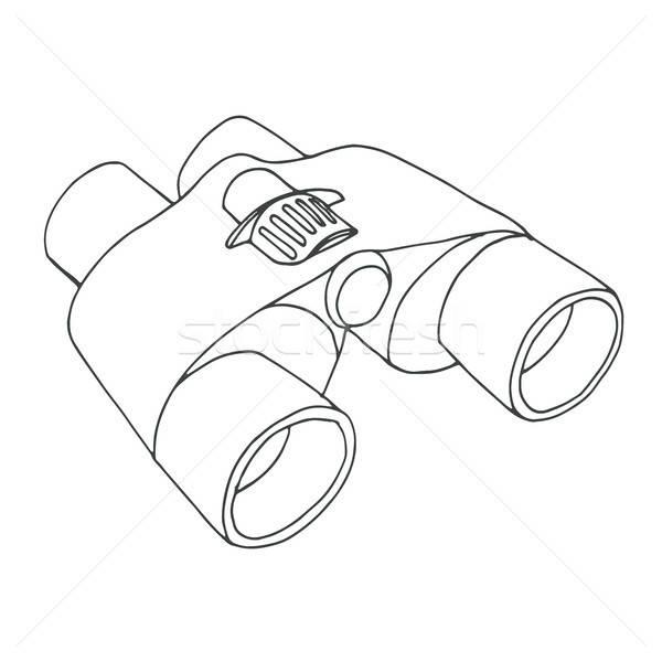 Verrekijker geïsoleerd witte schets stijl lineair Stockfoto © Arkadivna