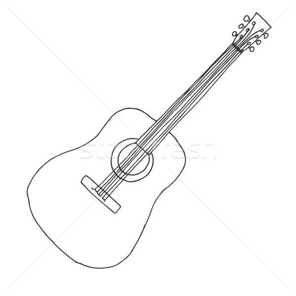 Sketch of a guitar. Vector illustration. Acoustic guitar isolated on white background. Stock photo © Arkadivna
