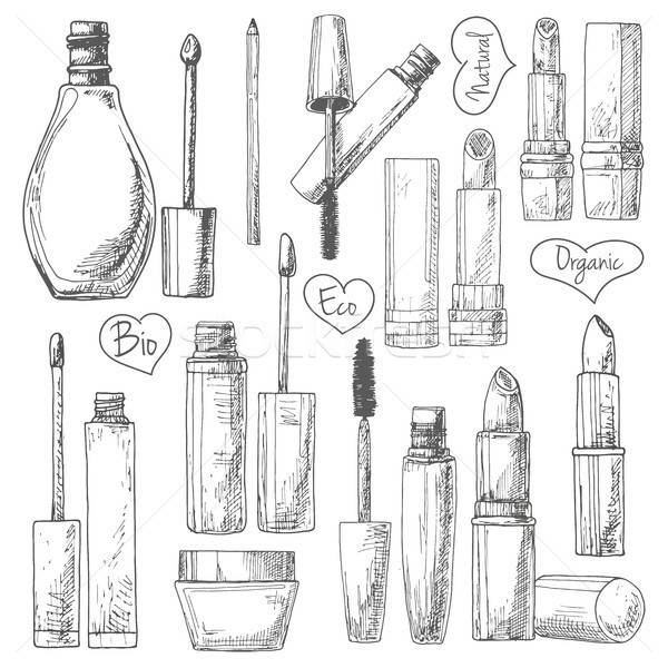 Ingesteld make cosmetica mascara room geïsoleerd Stockfoto © Arkadivna