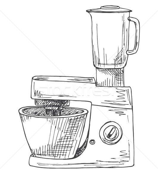 Food processor isolated on a white background. Vector illustration in sketch style Stock photo © Arkadivna