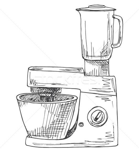 продовольствие процессор изолированный белый эскиз стиль Сток-фото © Arkadivna