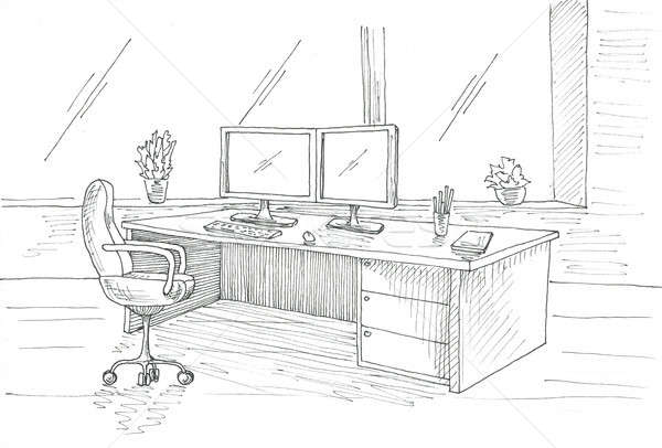 Workplace at the computer. Desk, office chair, two monitors. Sketch with a pen. Stock photo © Arkadivna