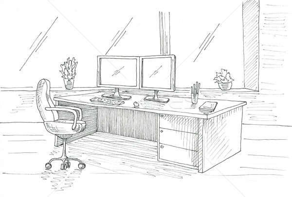 Local de trabalho computador secretária cadeira de escritório dois esboço Foto stock © Arkadivna
