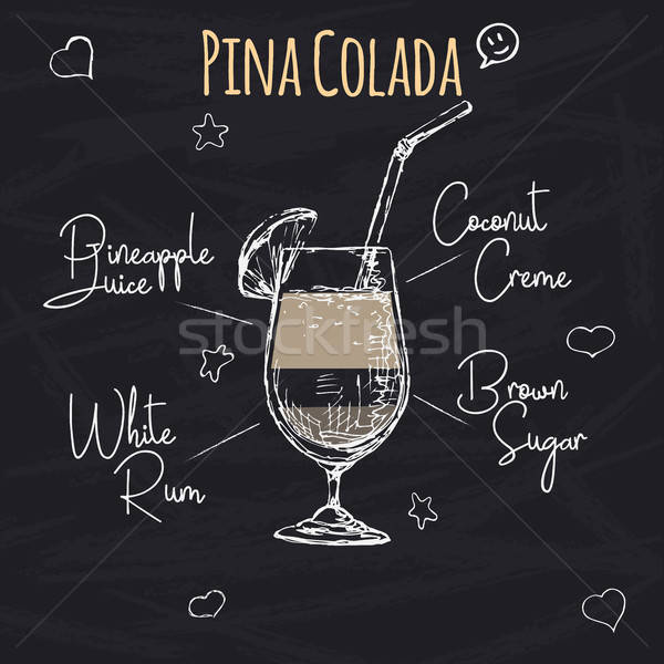 Simple recipe for an alcoholic cocktail Pina Colada. Drawing chalk on a blackboard. Vector illustrat Stock photo © Arkadivna