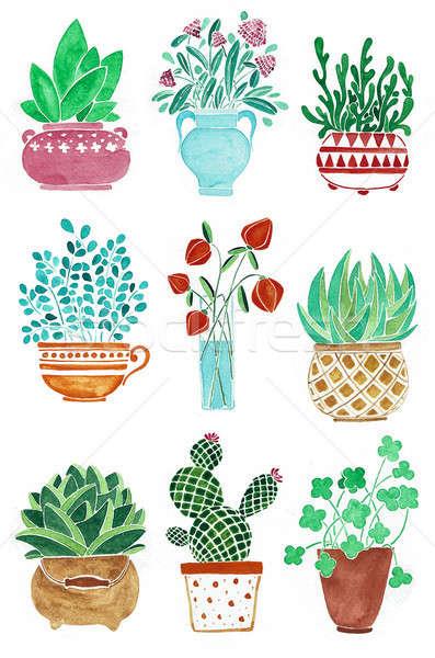 Set diverso impianti fiori vaso acquerello Foto d'archivio © Arkadivna