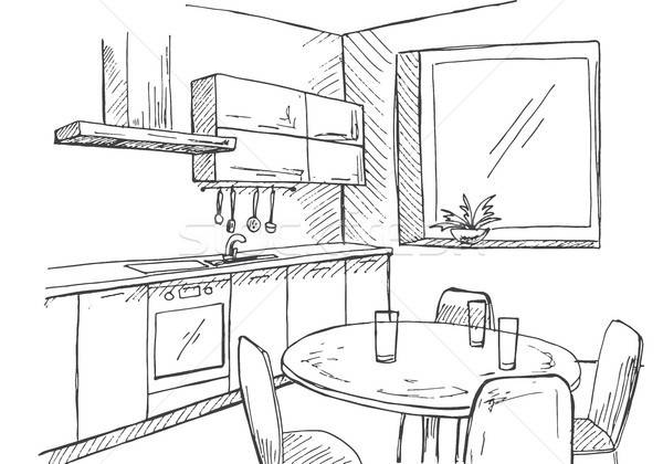 Sketch kitchen with a window. Vector illustration in a sketch style. Stock photo © Arkadivna