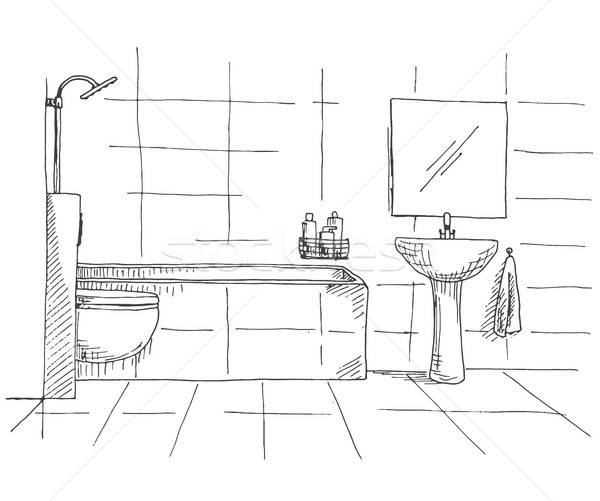 Hand drawn sketch. Linear sketch of an interior. Part of the bathroom. Vector illustration Stock photo © Arkadivna