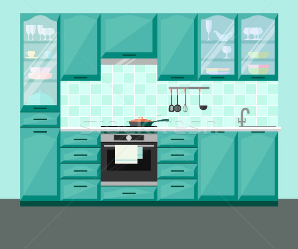 Kitchen interior with furniture and equipment. Stock photo © Arkadivna
