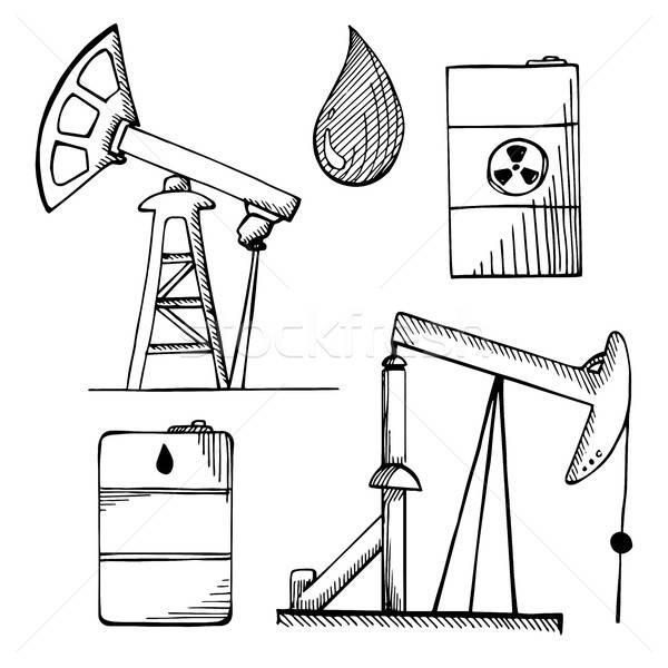Industrial esboço ícones objetos isolado branco Foto stock © Arkadivna