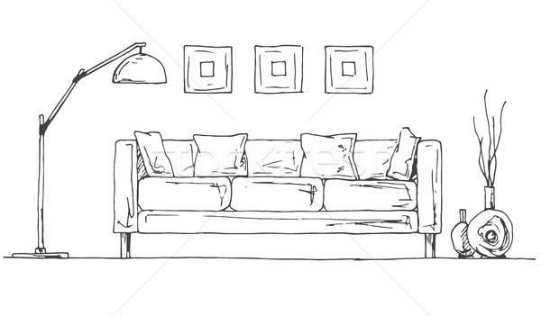 Lineare sketch interni stanza stile Foto d'archivio © Arkadivna