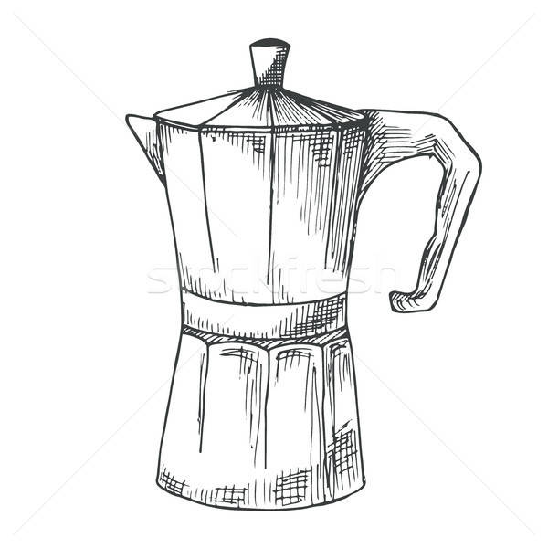Coffee maker retro isolated on white background. Vector illustration of a sketch style. Stock photo © Arkadivna