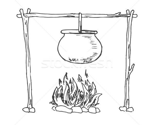 Bonfire. Cauldron hanging over the fire. Vector illustration of a sketch style. Stock photo © Arkadivna