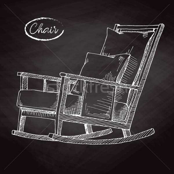Bujane szkic wygodny krzesło domu relaks Zdjęcia stock © Arkadivna