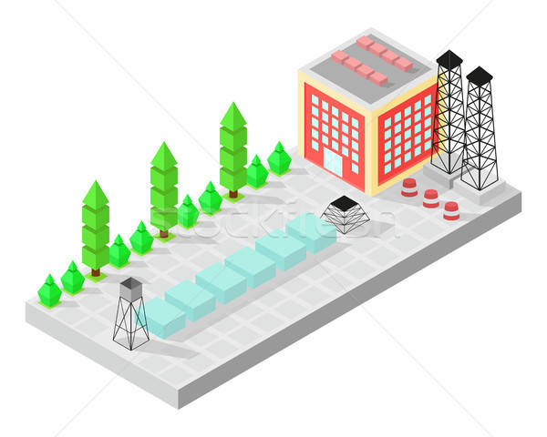 Isometric home. The factory with storage tanks. Road, green bushes in front of house. Vector illustr Stock photo © Arkadivna