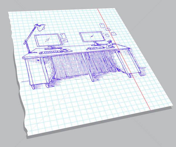 Schets interieur notebook vel kamer Stockfoto © Arkadivna