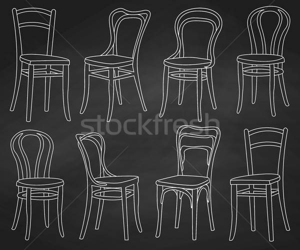 Ingesteld stoelen geschilderd krijt schoolbord home Stockfoto © Arkadivna