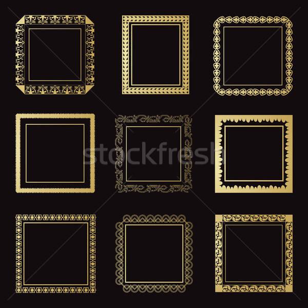 Ingesteld vierkante rechthoekig frames geïsoleerd zwarte Stockfoto © Arkadivna