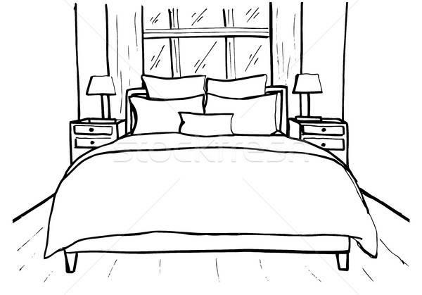 Schets lineair interieur lijn slaapkamers Stockfoto © Arkadivna