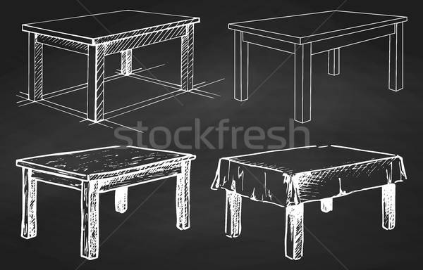 Stockfoto: Schets · ingesteld · geïsoleerd · meubels · verschillend · schoolbord