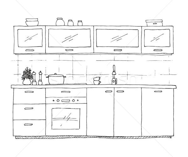 Mutfak mobilya kroki stil duvar Stok fotoğraf © Arkadivna