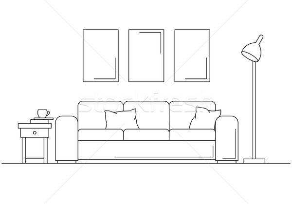 Modern interior. Sofa, floor lamp and bedside table. The clock hangs on the wall. In front of the so Stock photo © Arkadivna