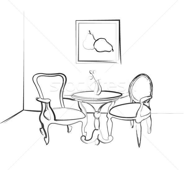 Croquis chambre design table deux chaises Photo stock © Arkadivna