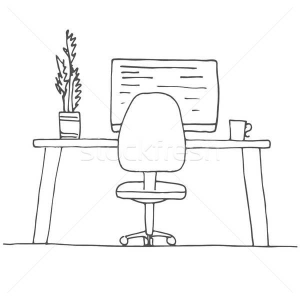 Sketch stanza sedia da ufficio desk oggetti Foto d'archivio © Arkadivna