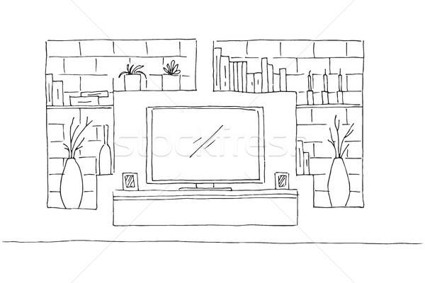 Linear sketch of the interior. Dresser with TV and shelves. Vector illustration. Stock photo © Arkadivna