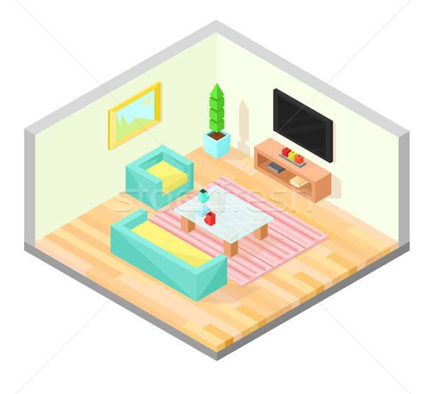 Oturma odası izometrik dizayn tablo tv koltuk Stok fotoğraf © Arkadivna