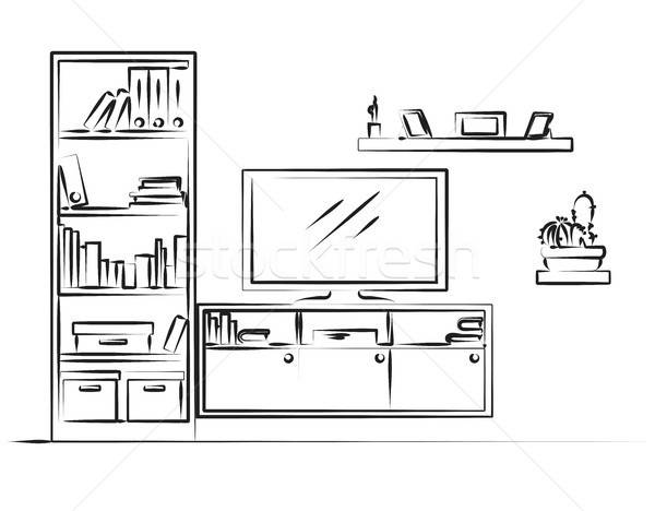 Linear sketch of the interior. Bookcase, dresser with TV and she Stock photo © Arkadivna