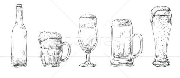 Ingesteld verschillend bril bier bierfles schets Stockfoto © Arkadivna