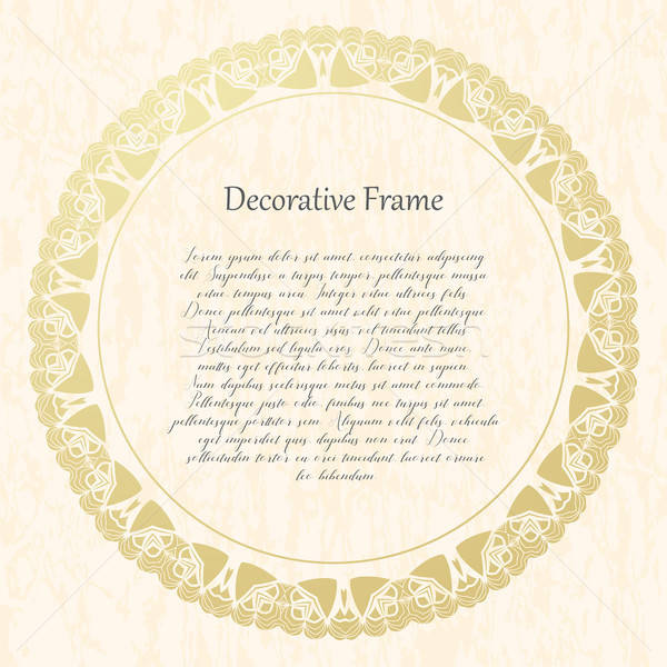 Vintage gold round frame on a textural background. Vector illustration. Stock photo © Arkadivna