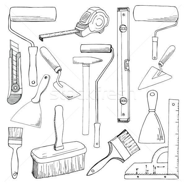 Set tools painting building. Different tools isolated on white background. Hand drawn vector illustr Stock photo © Arkadivna