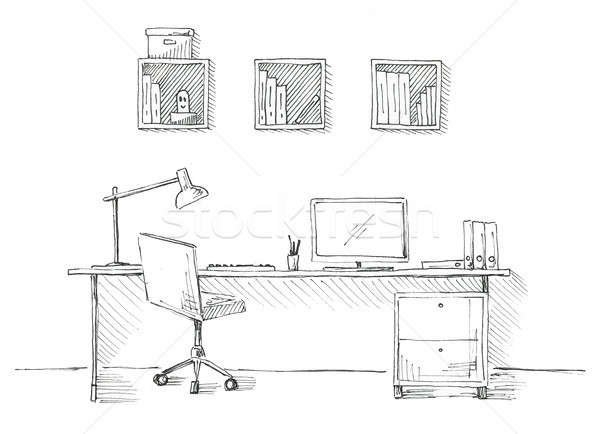 Sketch the room. Office chair, desk, various objects on the table. Sketch workspace. Stock photo © Arkadivna