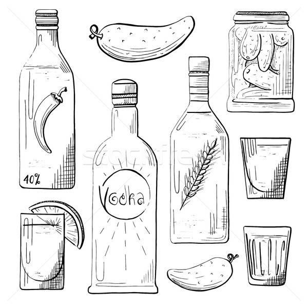 Bouteilles collations vodka verres concombre Photo stock © Arkadivna