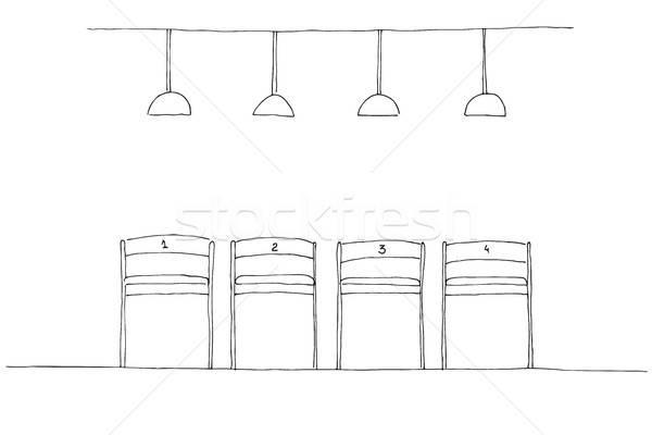 Rangée chaises lampe suspendu au-dessus président Photo stock © Arkadivna