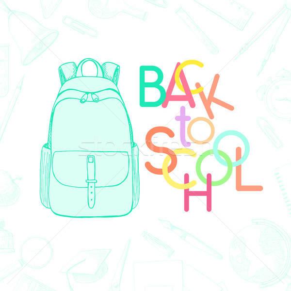 Különböző irodaszer felirat vissza az iskolába rajz stílus Stock fotó © Arkadivna