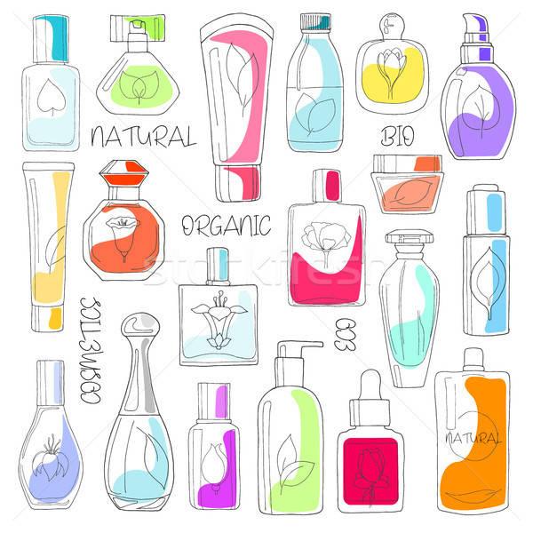 Establecer cosméticos naturales eco bio aislado Foto stock © Arkadivna