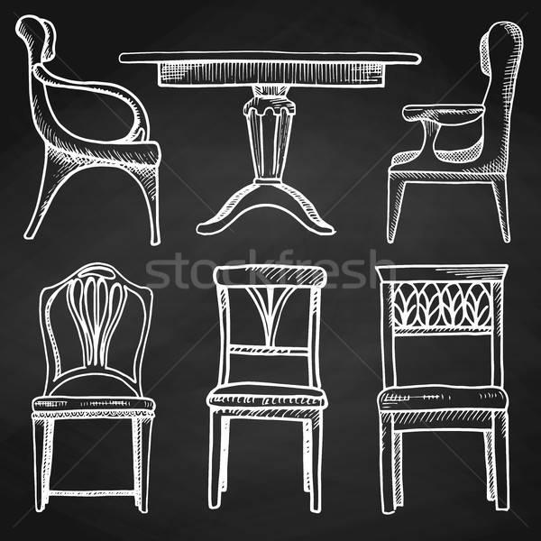 Croquis isolé meubles différent chaises Photo stock © Arkadivna