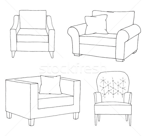 Set of different soft armchairs. Linear sketch. Vector illustrat Stock photo © Arkadivna