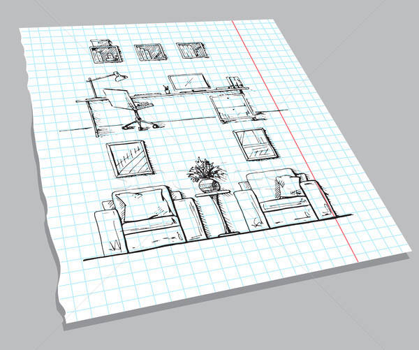 Schets interieur notebook vel lineair Stockfoto © Arkadivna