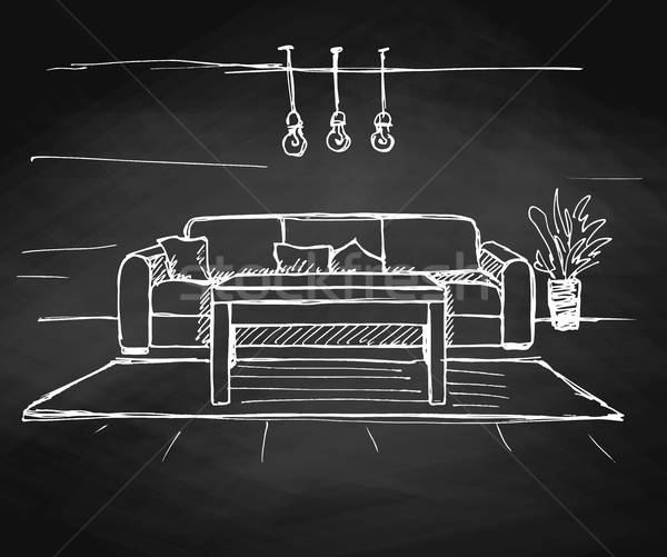 Linear sketch of an interior on the chalkboard. Room plan. Vector illustration. Stock photo © Arkadivna